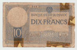 Morocco 10 Francs 6-3-1941 VG (tape) RARE Banknote P 17b 17 B - Marokko