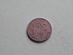 1925 - 50 Cent FR / KM 22 ( Uncleaned - For Grade, Please See Photo ) ! - Congo (Belgian) & Ruanda-Urundi