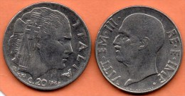 ITALIE ITALY  20 CENTS 1943 XXI  VITT.EM III - 1861-1946 : Royaume