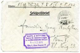 K.u.k.Feldpost, Hadtap Postahivata 174, 8.12.1915, An Wien 14.12.1915, Free Mail, Soldier - 1914-18