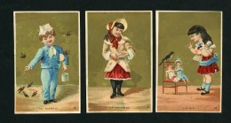 Lot De 5 Chromos Dorées, Lith. A. Clarey, Enfants, Oiseaux, Pie, Fauvette, Perroquet, Colombe, Pierrot - Other