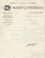 Lettre/Fabrique D´Instruments De Musique/Maison Veuve J FRAMBACH/Liége/Belgique/ Courbe/La Couture Boussey/ 1930 PART123 - Other