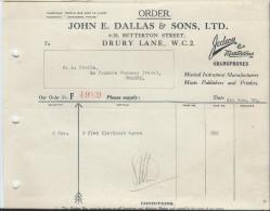 Command/Fabrique Instruments De Musique/John E Dallas & Sons/Drury Lane/Londres/ Courbe/La Couture Boussey/ 1930 PART125 - Autres