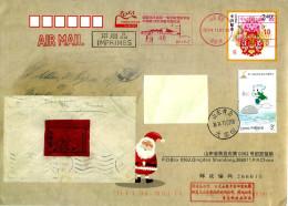 Chine China Entier Postal EMA Meter Slogan Antarctique Antarctic Pingouin Auk Pole Sud South Pole Père Noël Santa Clauss - Philatélie Polaire