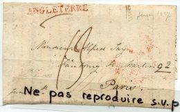 - Devant De Cursive Pour Paris, Cachets Rouge Angleterre, Rond 15 Juin 1827, Et Rond 259, 13, BE, Scans Cachet Rouge . - Great Britain