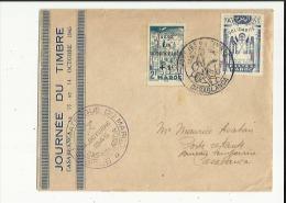 Enveloppe Timbree De La Journée Du Timbre A Casablanca Le 13 Et 14 Oct 1945  Adressé A Mr M -Asaban A CasablancVoir Scan - Morocco (1956-...)