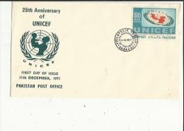 Enveloppe Timbree Du 25e Anniversary Of UNICEF Le 11 December 1971 (Philatelic-Bureau A Karachi - Pakistan
