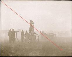 Plaque De Verre Militaire Artillerie Tir Canon Exercice Manoeuvre Observation Camp Photo De 1901 - Guerre, Militaire