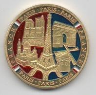Médaille Dorée Et Tri-colorée (2 Côtés) : Paris France : 5 Monuments Historiques - Tourist