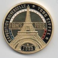 Médaille Dorée Et Tri-colorée (2 Côtés) : Paris France : Tour Eiffel Expo Univ. 1889 - Tourist