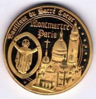 Médaille Dorée Et Tri-Colorée (revers) : Paris France : Basilique Sacré Coeur Montmartre - Tourist