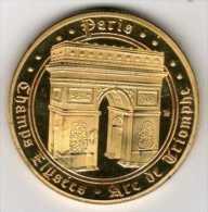 Médaille Dorée Et Tri-Colorée (revers) : Paris France : Arc De Triomphe Champs-Elysées - Tourist