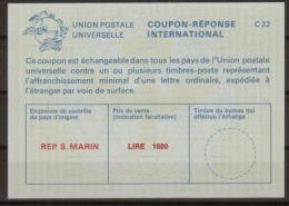 SAN MARINO International Reply Coupon Reponse Antwortschein IAS IRC  La25E  Small LIRE 1800 Mint Without Date Stamp - Interi Postali