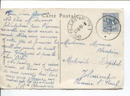 TP 858 S/CP C.Liège En 1952 + C.Ambulant Bruxelles-Arlon 1 V.Jolimont (Haine St.Paul PR1504 - Ambulants