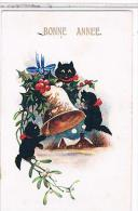 CHATS NOIRS CHATONS  BONNE ANNEE    COMIQUE   N°53 49                      CP492 - Chats
