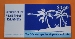 Marshall Islands #C22a Booklet Comp Mnh Cv $3.00 Airplanes - Marshall