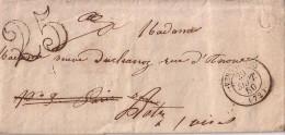 SEINE ET OISE - VERSAILLES - T15 DU 29-9-1850 + BOITE RURALE C DE BAILLY + TAXE 25 DOUBLE TRAIT - LETTRE AVEC TEXTE. - 1801-1848: Précurseurs XIX