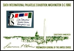 USA: 'Briefmarkenausstellung, 1966' / 'Philatelic Exhibition In Washington', Mi. BL 11; Yv. BF 10; Sc. 1311 ** - United States