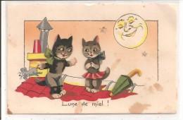 COUPLE De CHAT NOIR , Lune, Parapluie Et Souris - IDA Avec Découpis - Chats