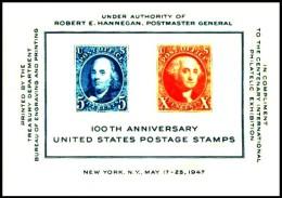 USA: '100 Jahre US-amerikanische Briefmarken, 1947' / 'Centenary Of American Stamps', Mi. BL 9; Yv. BF 8; Sc. 948 ** - United States