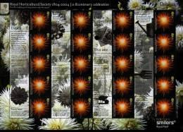 GREAT BRITAIN - 2004  DAHLIAS GENERIC SMILERS SHEET   PERFECT CONDITION - Fogli Completi