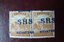 Yougoslavie - Variété De Surcharge Sur Une Paire Du Yvert N° 8 Neufs ** (MNH) - Voir Scan - Nuovi