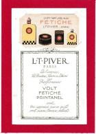 """CARTE PARFUMEE ANCIENNE - L.T. PIVER """" FETICHE """" CALENDRIER  1926  AU DOS AVEC SON PRESENTOIR - Perfume Cards"""