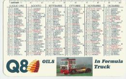 CALENDARIETTO  PLASTIFICATO PLUBBLICITARIO- Q8 -ANNO 1992 - Calendari