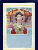 LESSIEUX / Art Nouveau / Portrait De Femme Aux Cheveux Tressés. - Lessieux