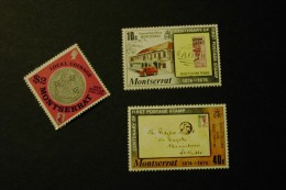 Montserrat 326 Old Local Coinage 328-29 Stamp On Stamp  MNH 1975-76 A04s - Montserrat