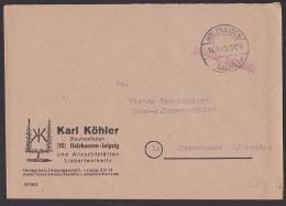 """HOLZHAUSEN (SACHS.) """"gebühr Bezahlt"""" -Stempel Barfrankatur 1945 Baumschulen Karl Köhler - Soviet Zone"""