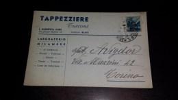 SP-732 CARTOLINA VIAGGIATA SANTA MARGHERITA LIGURE TAPPEZZIERE TURCONI PUBBLICITARIA PUBBLICITA - 6. 1946-.. Republik