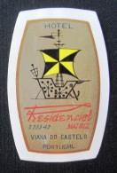 HOTEL PENSAO RESIDENCIAL MATRIZ VIANA DO CASTELO MINI DECAL STICKER LUGGAGE LABEL ETIQUETTE AUFKLEBER PORTUGAL - Hotel Labels