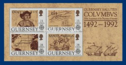 GUERNSEY/GUERNESEY 1992 EUROPA COLUMBUS M.S. U.M.   COLOMB YT BLOC 15 N.S.C. - Guernesey