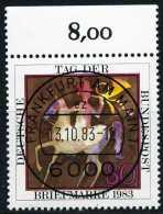 BRD - Michel 1192 Oberrand - Zentrisch OO Gestempelt (B) - 80Pf  Tag Der Briefmarke 83 - [7] República Federal