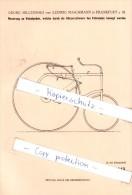 Original Patent   - G. Milczewski Und L. Maschmann In Frankfurt A. M. , 1882 , Velociped , Fahrrad , Bicycle !!! - Transport