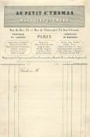 FACTURE  Au Petit St Thomas  MANNOURY & EMERY  Rue Du Bac Paris 1840 - Textile & Vestimentaire