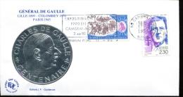 Centenaire De La Naissance De Charles De Gaulle - Cambrai (59) Du 17-4-1990 - FDC