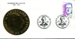 Centenaire De La Naissance De Charles De Gaulle - Cambrai (59) Du 2-3 Juin 1990 - FDC