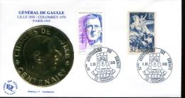 Centenaire De La Naissance De Charles De Gaulle - Tergnier (02) Du 3-06-1990 - FDC