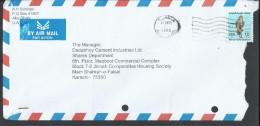 UAE Airmail 1990 Falcon 250f Postal History Cover Sent From UAE To Pakistan - Abu Dhabi