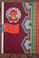 RUSSIA. Kalmykia  - Old USSR Postcard Autonomous Republic Emblem (Coat Of Arms And Republic Flag Of The Rep - 1972 - Cartes Postales