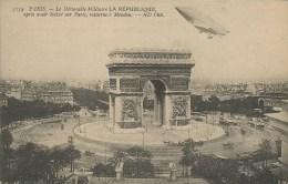 PARIS LE DIRIGEABLE MILITAIRE LA REPUBLIQUE PRES AVOIR EVOLU SUR PARIS RETURNE A' MEUDON - Dirigibili