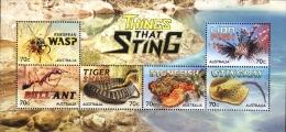 Australia 2014 Things That Sting Stingray Fish Snake Ant Minisheet MNH - Peces