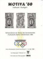 Jeux Olympiques 1896, Grece, Feuillet Epreuve Motiva 1980 De Fellbach/Stuttgart