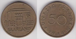 SARRE - SAAR : 50 FRANCS 1954   (voir Scan) - Sarre