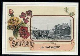08  WASIGNY  -...  ...... Gare Souvenir Au Fusain Creation Moderne Série  Numerotée 1 à 10 ... N° 2/10 - Frankreich