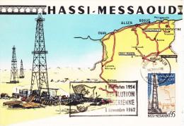 Usine Petrole Hassi Messaoud, Cachet Nov 1954/ 62 Révolution Algérie, Yvert N 367 - Factories & Industries