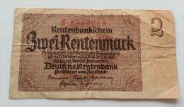 GERMANIA 2 RENTENMARK 1937 VF - [ 3] 1918-1933 : Repubblica  Di Weimar