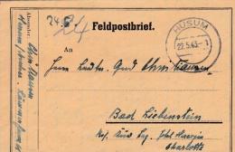 Feldpost WW2: To A Lazarett In Bad Liebenstein P/m Huseum 22.5.1943 - Letter Inside  (G71-37) - Militaria